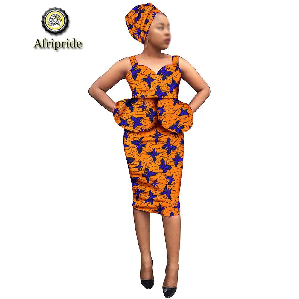 2019 African Dresses For Women dress+headscarf Print Summer Dress Dashiki Wedding party Dress ankara fabric AFRIPRIADE S1925023