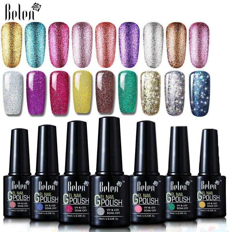 Belen 10ml Bling Starry Neon Giltter UV Nail Gel Polish Paint Gellak Hybrid Varnish Semi Permanent Lucky Lacquer Base Top