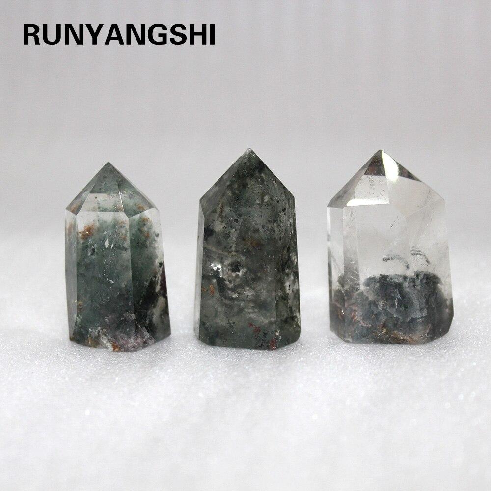 Piedra de cristal fantasma Natura lGreen, seis prismas de columna de cristal, Gema Hexagonal prisma para artesanía Reiki, punto único terminado