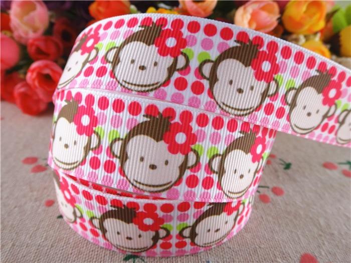 15060608, 1'' (25mm) 5 yards monkey pink dots printed grosgrain ribbons cartoon ribbon hair accessories tape