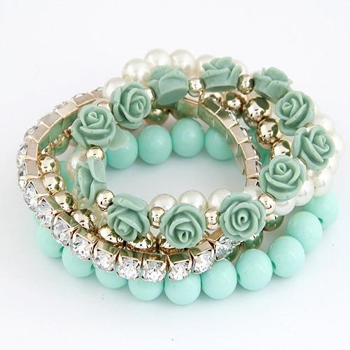 LEMOER Candy Color perla Rosa flor multicapa estiramiento pulseras brazaletes pulsera para mujeres
