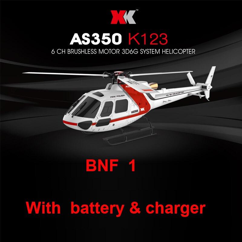 (С двумя батареями) XK K123 BNF 1 (без пульта дистанционного управления) 6CH бесщеточный AS350 3D6G система RC вертолет