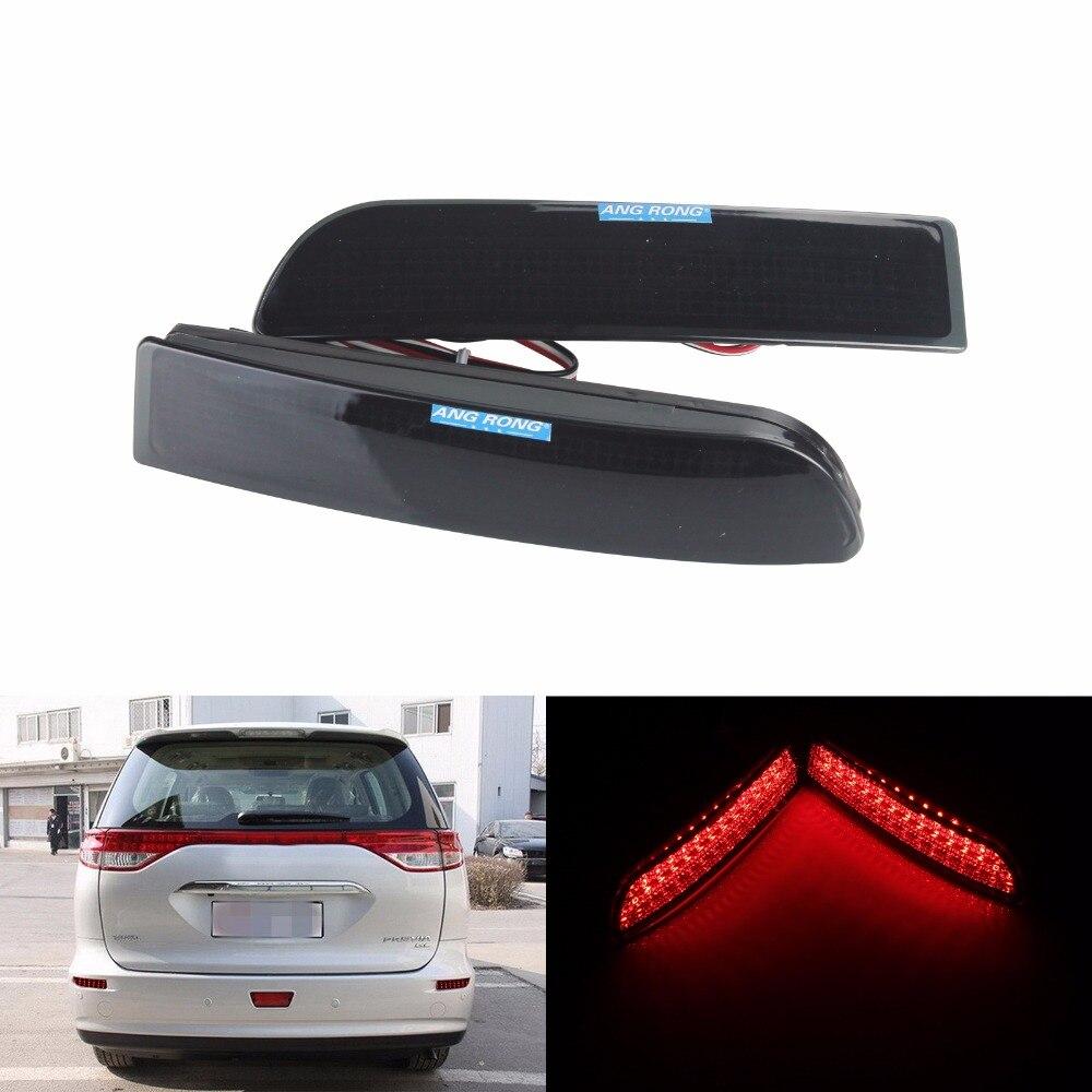 ANGRONG 2x negro ahumado reflector de parachoques trasero Luz de Freno LED para Toyota Avensis Salón Inmobiliario/Turismo Estima 2,4 Previa (CA167)