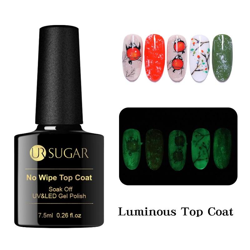 Azúcar UR 7,5 ml luminosa No limpiar abrigo Color Gel polaco mate capa superior para Base UV LED de Gel para decoración de uñas barniz de larga duración
