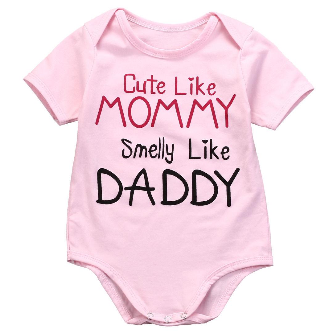 Милая модная одежда для новорожденных с надписью «Like Mom» Новинка 2017 года, летний комбинезон с короткими рукавами для маленьких девочек, комбинезоны с надписями, одежда для маленьких детей