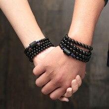 Многослойный браслет из ОБСИДИАНОВЫХ бусин в стиле Lover, 6 мм, 8 мм, браслет, приносящий удачу и браслет для пар