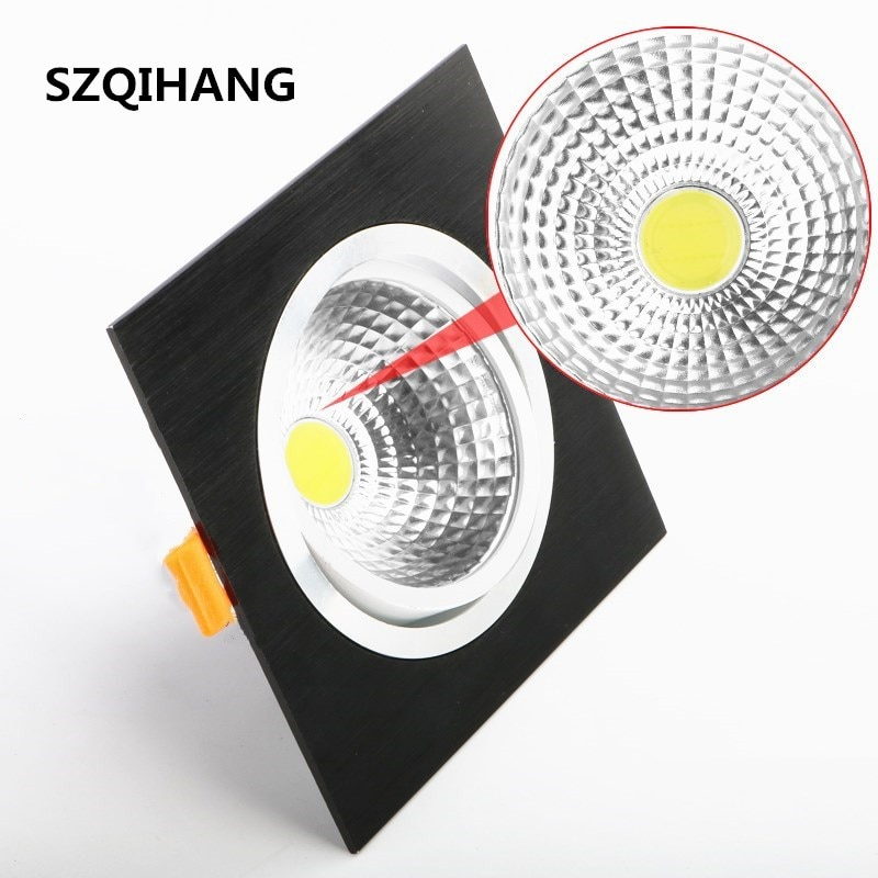 High Quality Square Recessed led down light 10w 15w 20w COB LED Spot Lamp Dimmable Adjustable Ceiling Downlight 110v/220v/230v gd dimmable led recessed downlight 3w 5w 7w 10w 12w 15w 20w 24w spot led ceiling down light 110v 220v 230v cob led downlight
