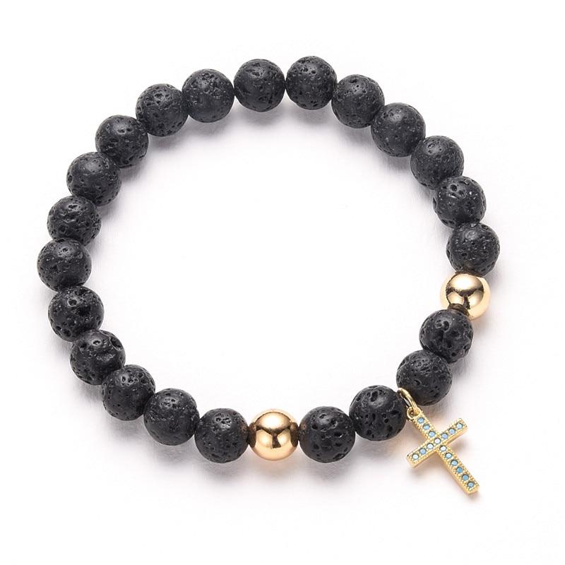Gold Jesus Cross Bracelet Beads Jewelry 8mm Lava Stone Bracelets for Men Handmade Jewellery  MBR180129