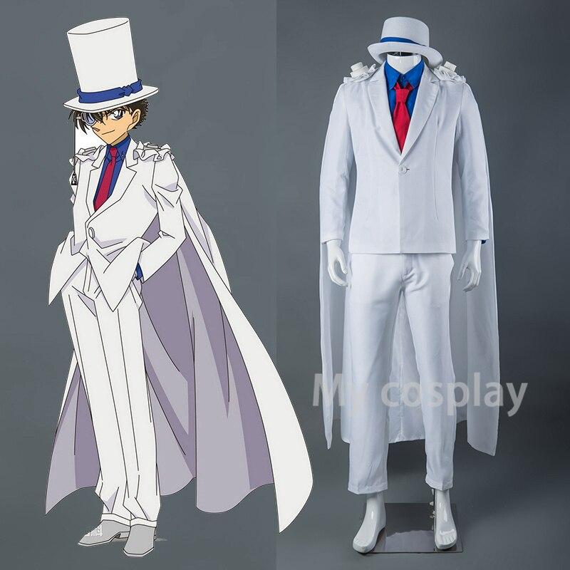 Garoto o Fantasma Completo de Alta Qualidade com Luvas Anime Detetive Conan Magia Kaito Ladrão Uniformes Cosplay Traje Conjunto Chapéu