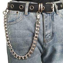 Punk hip-hop ceinture cuir tendance chaine de taille pantalon masculin chaine portefeuille motard lien Jeans bibelot métal argenté