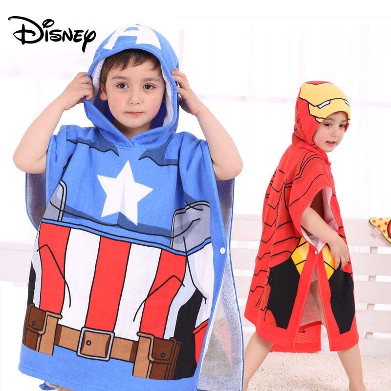 Disney Hero Baby Bath Towel Children Hooded Cotton Cloak Baby Kids Boy Cartoon Swimming Beach Towel Toalha Toddler Robe