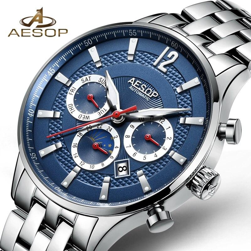 AESOP Automatic Mechanical Watch Man Watch Men Sport Men's Wrist Watches Stainless Steel Male Clock Men Relogio Masculino