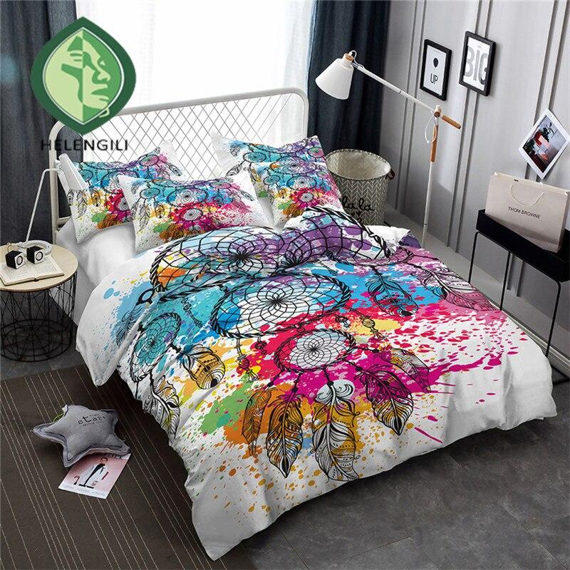 HELENGILI 3D Bedding Set Color ink Dreamcatcher Print Duvet cover set bedclothes with pillowcase bed set home Textiles #YN-14