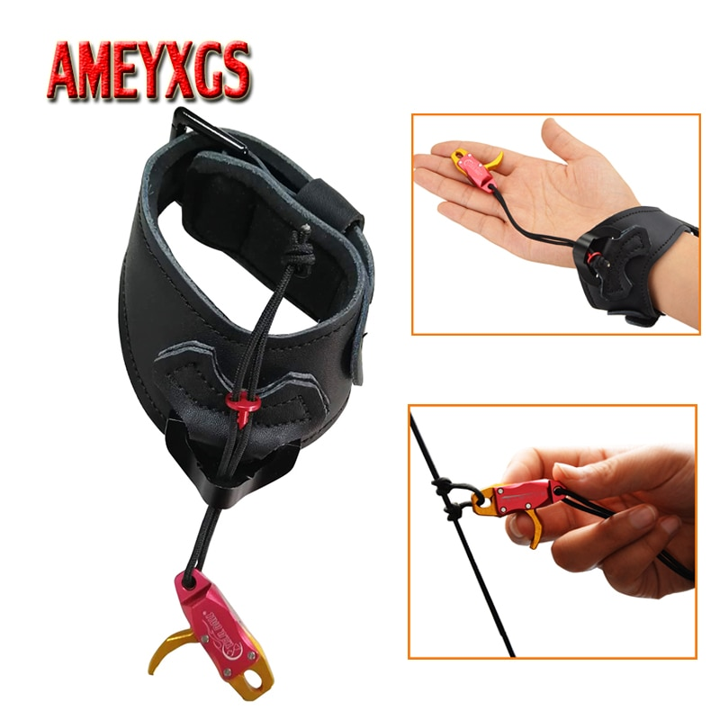 1pc Archery Bow Release Aids Adjustable Strap Wrist Buckle Trigger Caliper Releases Compound Bow Hunting Shooting Accessories