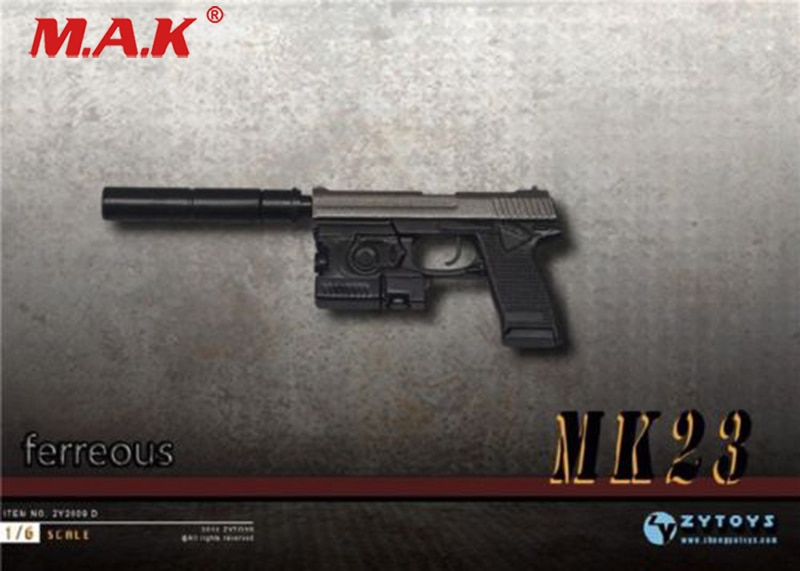 "16 scale ZY2009D MK23 SOCOM pistol weapon gun model 1/6 miniature toy for 12"" figure accessory"