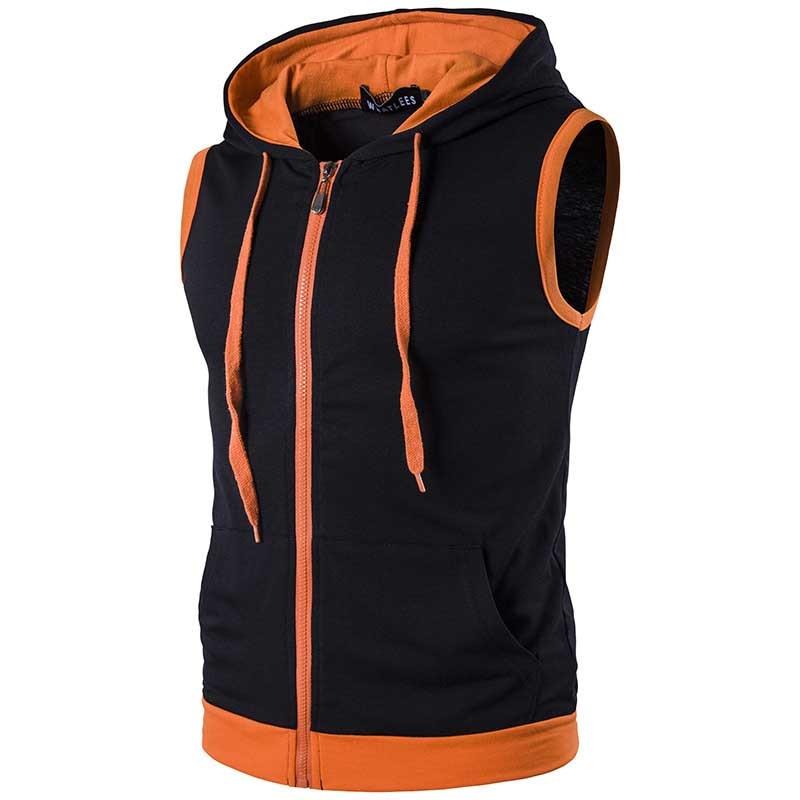 Повседневный облегающий жилет с капюшоном, мужской весенне-летний жилет в стиле пэчворк, спортивная одежда, жилет большого размера, мужская...