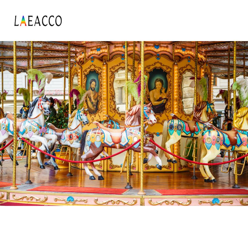 Laeacco Baby Horse Carousel Amusement Party Portrait Photographic Backdrops Photography Backgrounds Photocall Photo Studio laeacco lollipop candy bar dessert donut baby birthday photography backdrops customize photographic backgrounds for photo studio