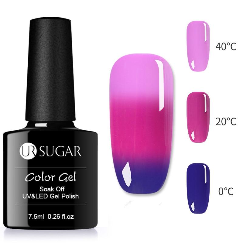 UR SUGAR 7.5ML Thermal Glitter Soak Off UV Gel Polish  Temperature Color-changing Varnish Gel Nail Art varnish Decor