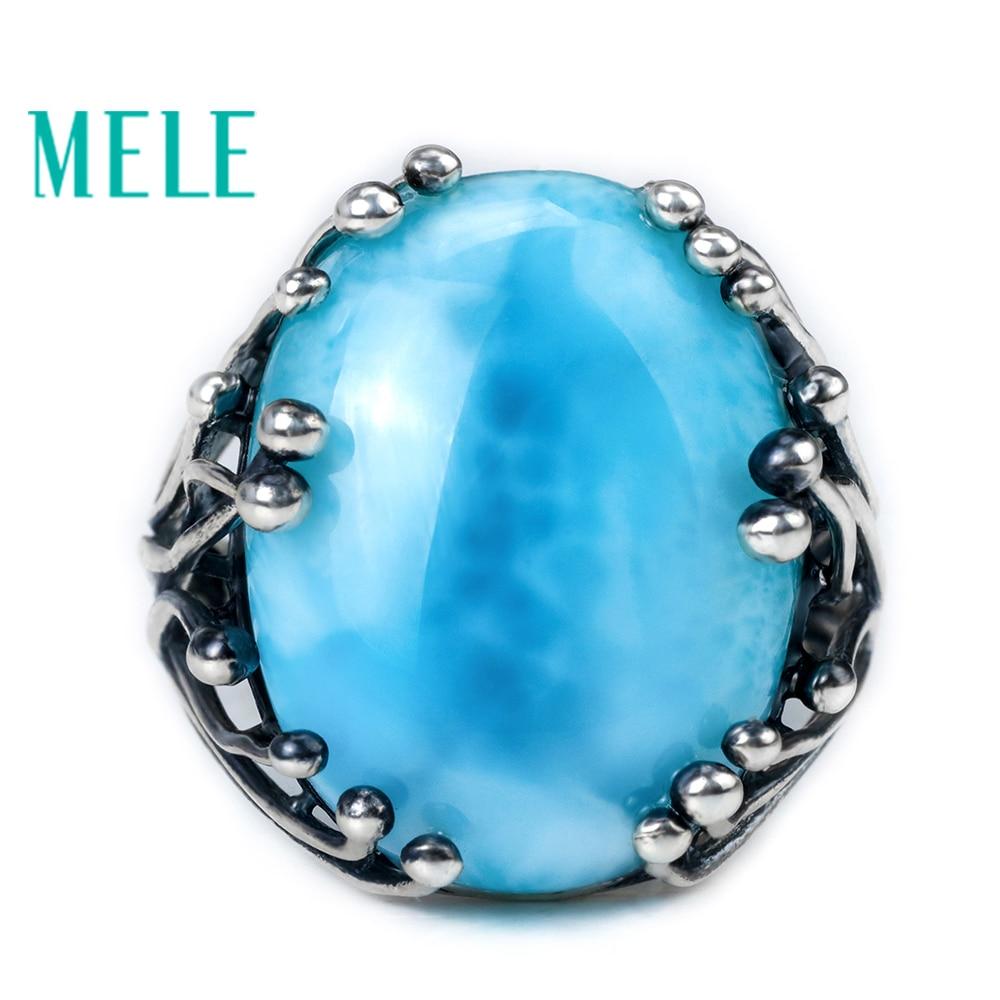 Natural Larimar 925 silver rings for women blue Larimar gemstone man big rings fine jewelry Opening ring design gem oval 15X20mm