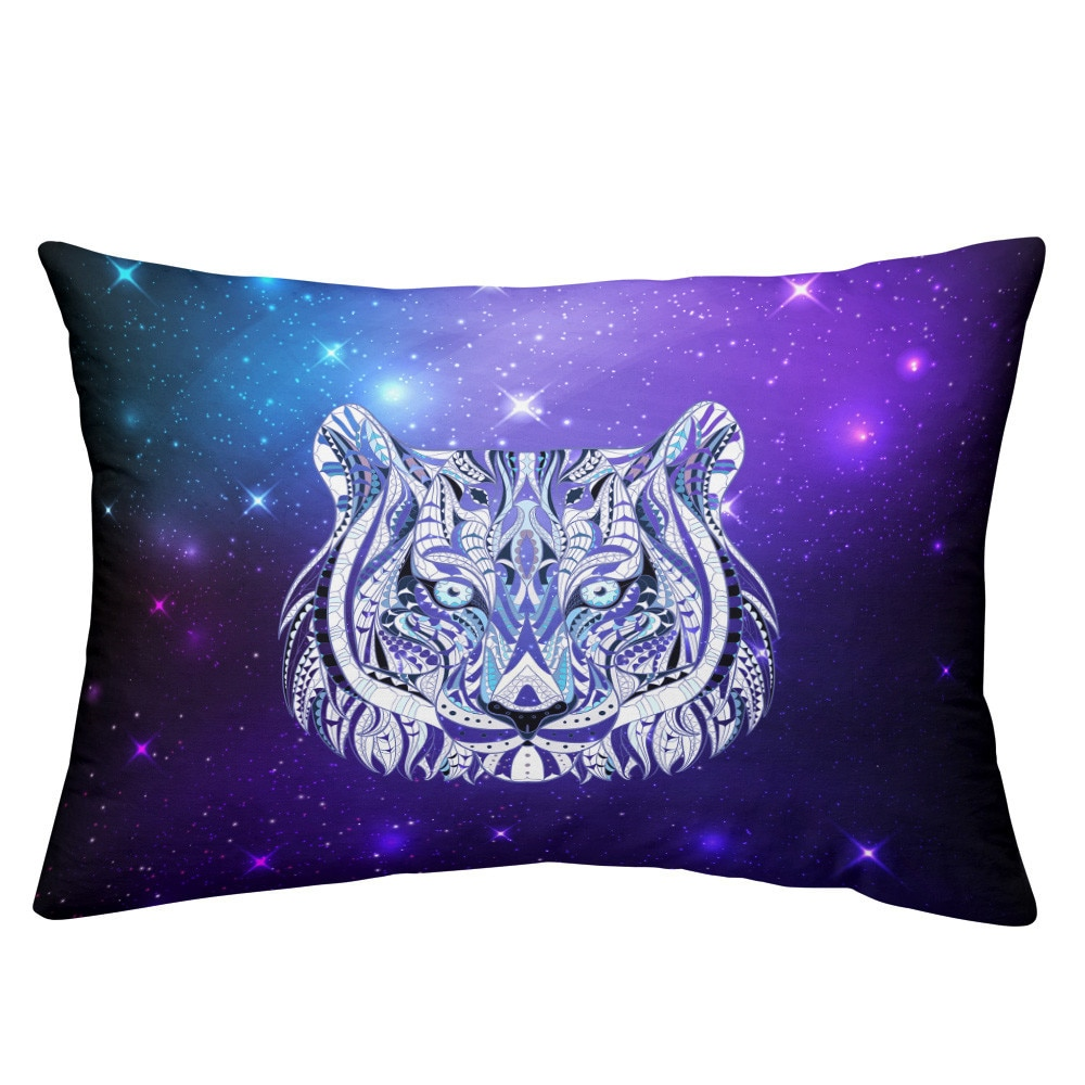 White Tiger Bedding Set Purple Galaxy Print Duvet Cover Set Animal Pattern Design Bed Cover King Queen Bedclothes Pillowcase D25