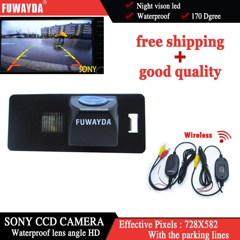 FUWAYDA 170 lente de ángulo inalámbrico LED, cámara trasera de estacionamiento para coche HD sony CCD AUDI A1 A4 (B8) A5 S5 Q5 TT / PASSAT R36 5D