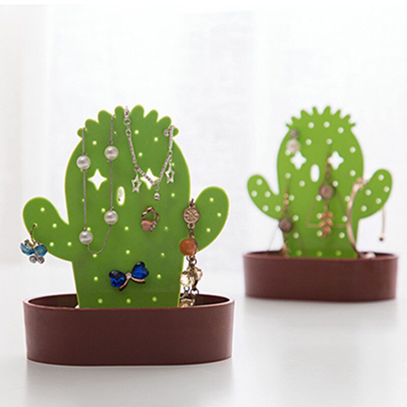 Creativo con forma de Cactus collar pulsera pendientes de almacenamiento organizador de joyas pantalla estante caja casa adornos manualidades