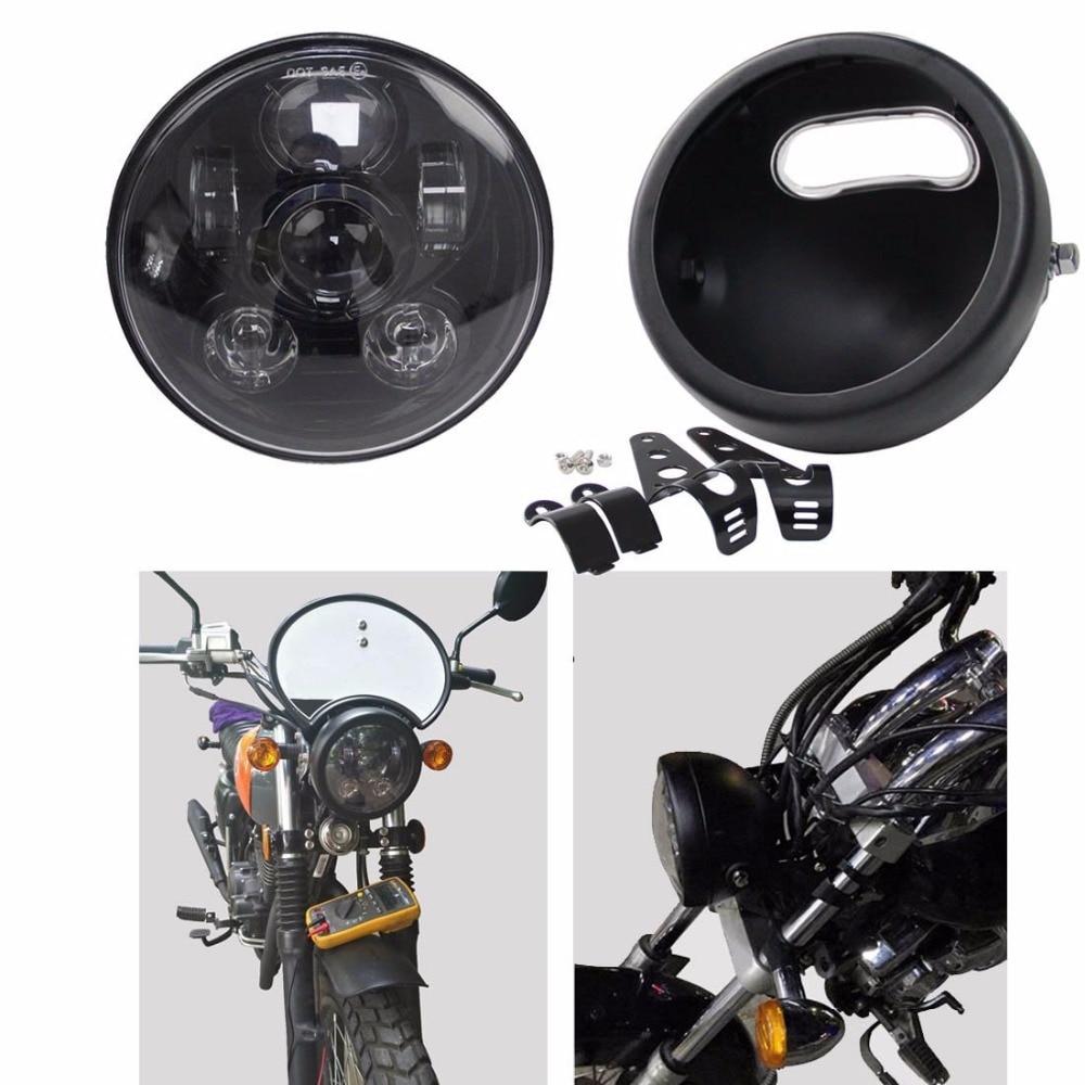 "5,75 ""redondo LED faro luz de giro 5,75 pulgadas proyector LED Moto faro para Dyna Sportster 1200 48 883 partes"