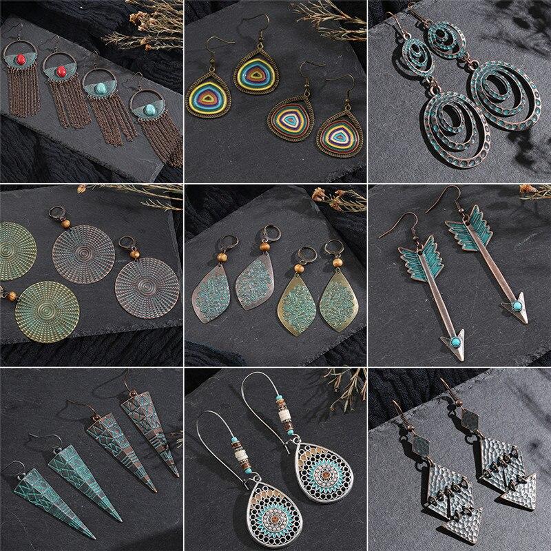 Винтажные бронзовые геометрические женские серьги, ювелирное изделие 2019, длинные металлические кисточки, бахрома, африканские серьги для женщин, большие круглые серьги