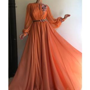Robe De Soiree Elegant Dubai Evening Dresses Long Orange Long Sleeve Evening Gown Flowers Tulle Party Dress For Women Cheap