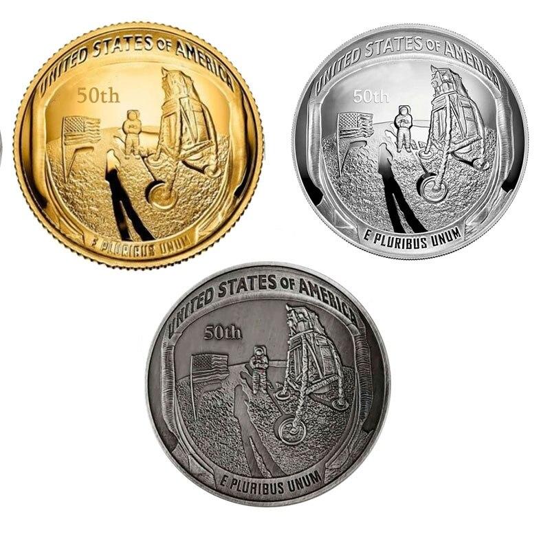 2019 50 aniversario Apollo coin 11 Moon Landing plata oro antiguo plateado moneda conmemorativa regalo