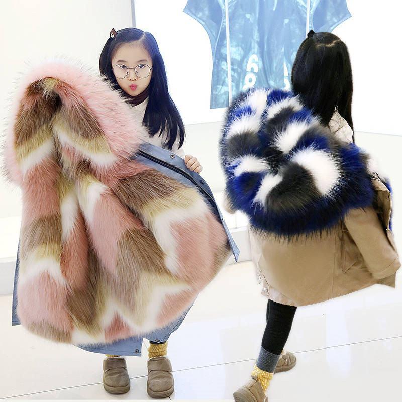 Manteau en fausse fourrure de renard pour enfants, vêtement à capuche, épais et chaud pour garçons et filles, Parka 2019