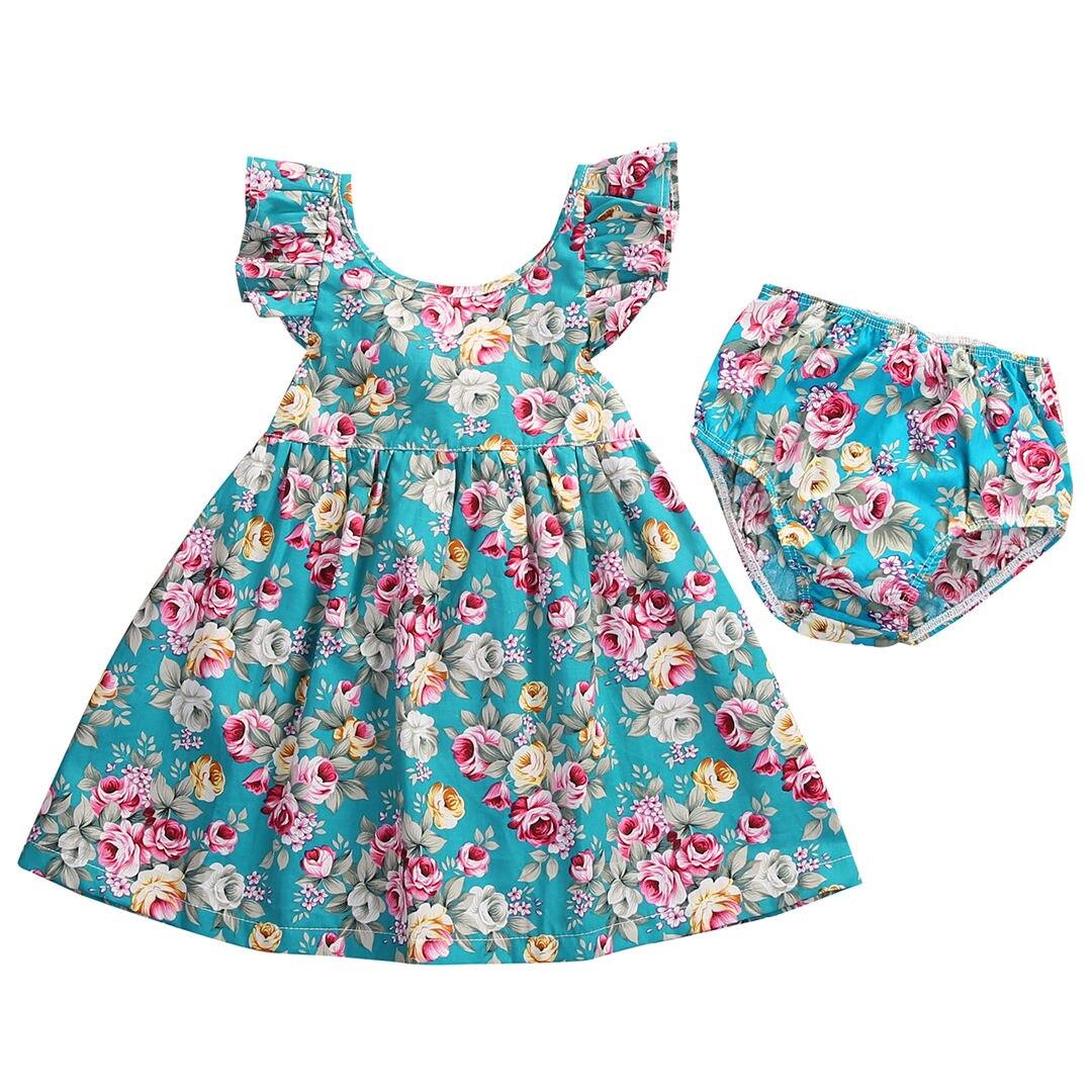 Robe dété pour petites filles   À volants, motif Floral, tenue fleurie, culottes dété 0-5T