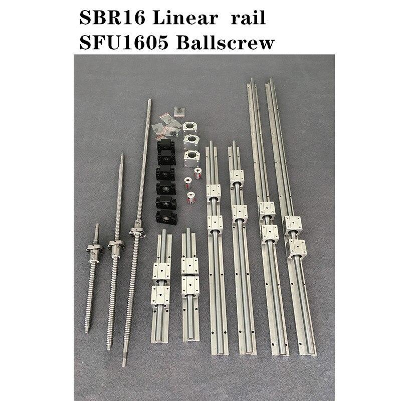 6 مجموعة SBR16 -300/1000/1300 مللي متر دليل خطي السكك الحديدية + 3 مجموعة SFU1605 - 300/1000/1300 مللي متر Ballscrew مجموعة + 3 مجموعة BK/BF12 CNC أجزاء