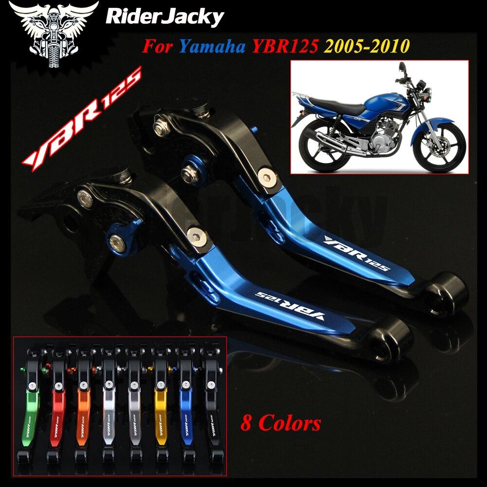 Palancas de embrague de freno extensibles plegables para motocicleta azul + negro para YAMAHA YBR125 YBR 125 2005-2010 2006 2007 2008 2009
