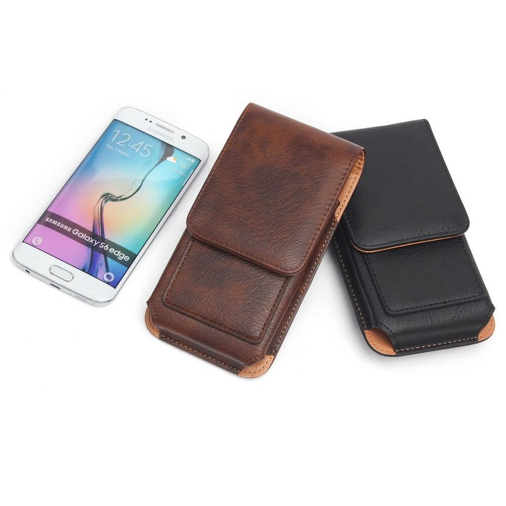 Men Waist Packs Belt Case with Leather Hook Loop Belt Clip Case Holster Flip Cover for iPhone 11 Pro Max Samsung Note 10 Plus