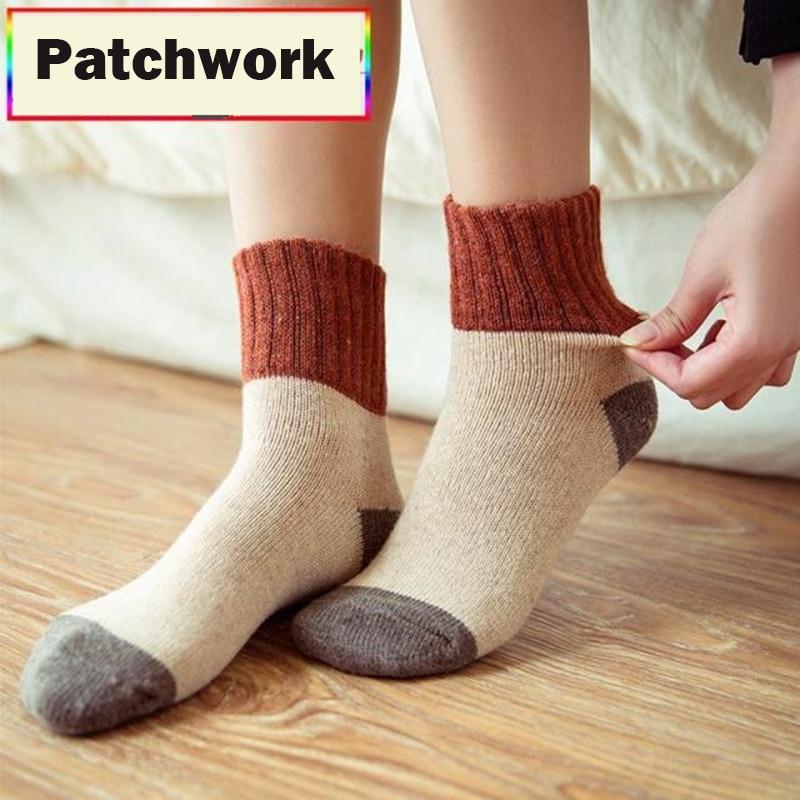Retro Thickening Women Socks Autumn Winter Rabbit Wool Patchwork Socks Female New Japanese 5 Colors Tube Sock Students Hosiery