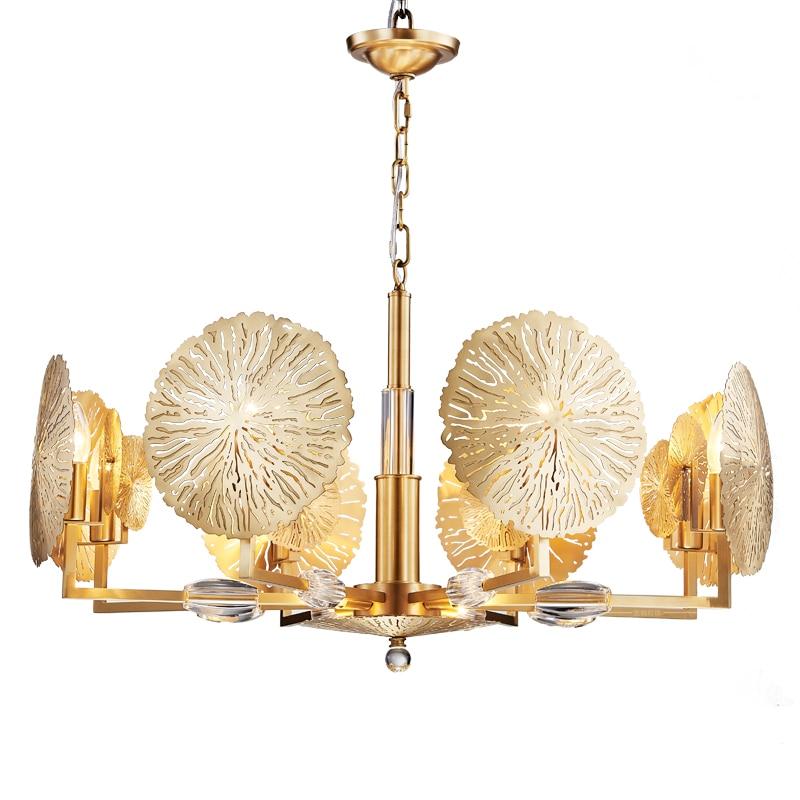 Candelabro de oro moderno Flor de cobre lámpara LED suspensión iluminación del hogar E14 arte Hotel dormitorio comedor candelabro de lujo F042