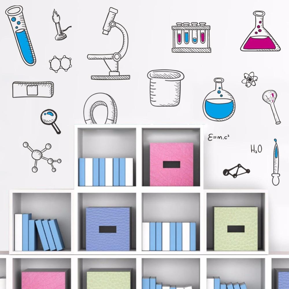 % PVC Microscope Science Scientist Chemistry School laboratory Vinyl Wall Sticker home decor for kids room bedroom living room