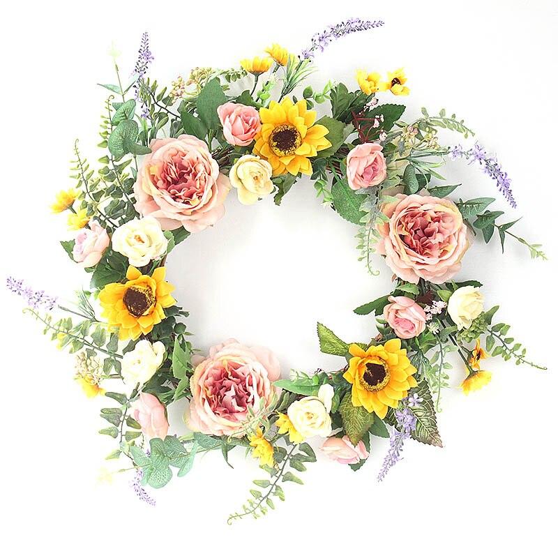 Corona de peonía de girasol Artificial, decoración de pared, accesorio para casa, decoración de Acción de Gracias, nuevo