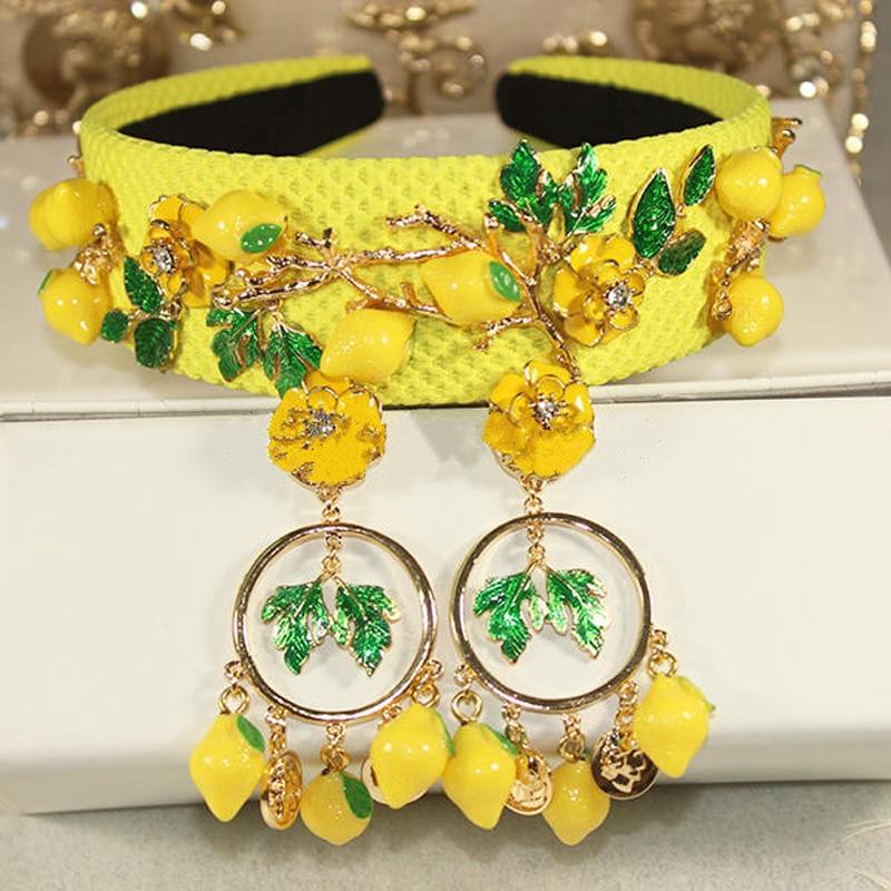 New Hot Baroque fashion runway cute yellow lemon flower green leaves headbands for women luxury vintage hair accessories jewelry