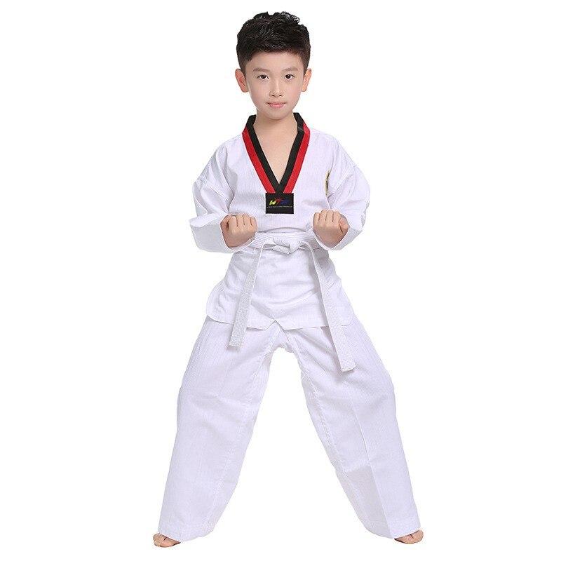 Ropa de Primavera de algodón puro WTF mooto dobok de Taekwondo para niños, traje de Karate para adultos, uniforme de Taekwondo, ropa de Karate