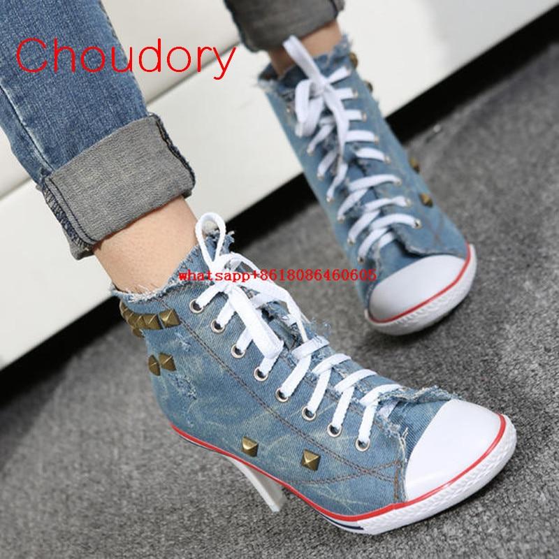 Choudory estilo occidental botas Denim azules para las mujeres del dedo del pie puntiagudo jeans sandalias cuñas diapositivas sapato femenino zapatos