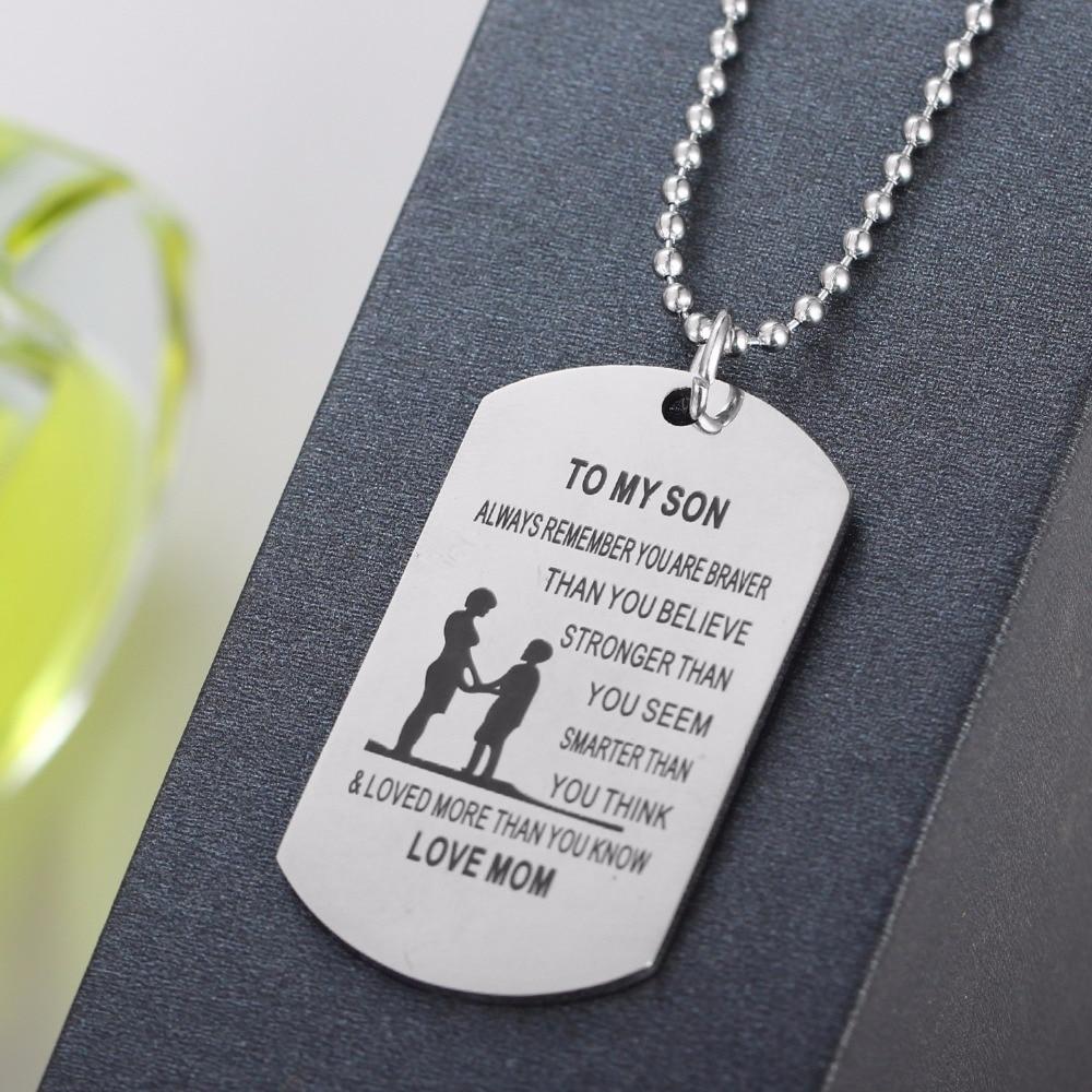 Collar con colgante militar con Etiqueta de perro Love To Son para madre, familia, mamá, niños, regalo de acero inoxidable