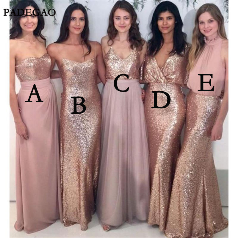 Simple Bridesmaid Dresses A Line Sleeveless Sequined Mismatched Long Wedding Party 2019 Bridesmaids
