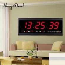 15 Large Digital Led Wall Clock Watch Calendar Date Day 24H Display Plug in Clock Large LED Screen EU