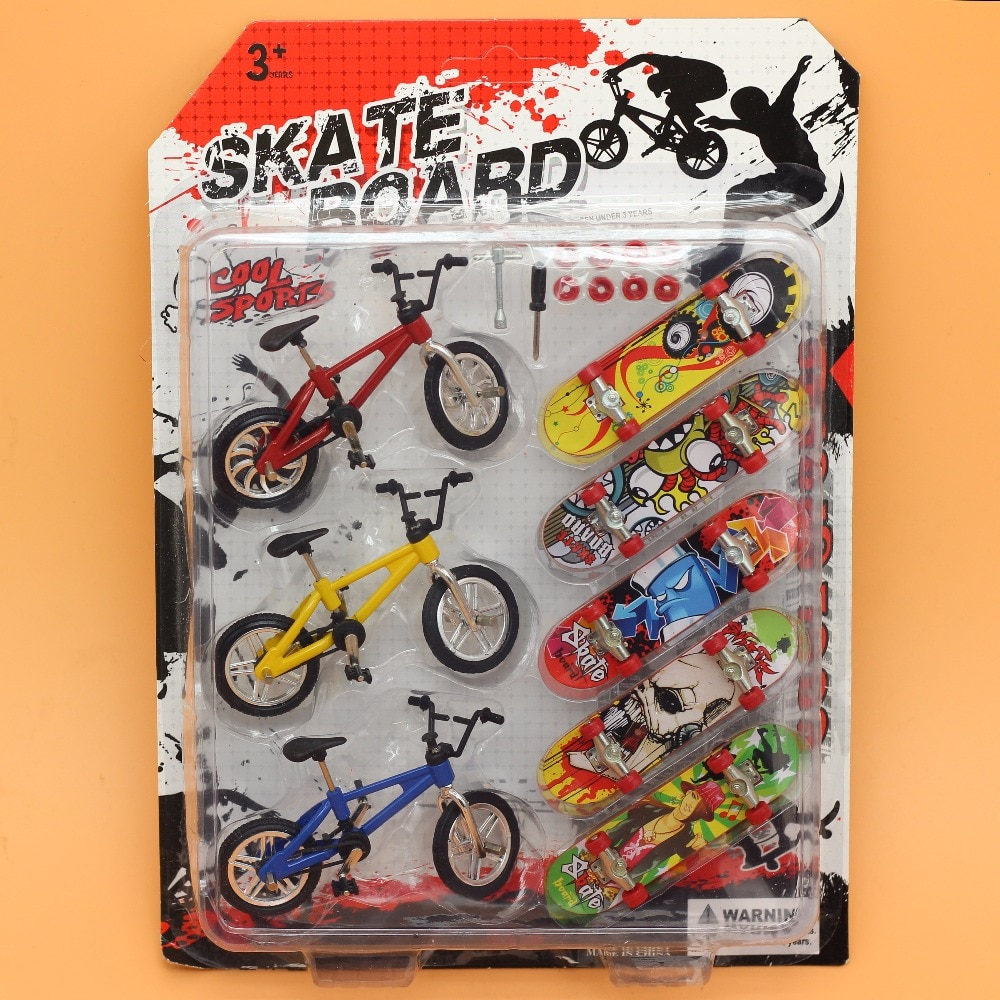 8Pcs/lot Bicycle/ bike Finger Skateboards Toys for Children Novelty Fun Mini Fingerboard funny Gift Kids Scooter skate board