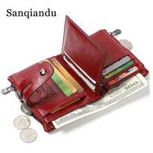 Женский кошелек из 100% натуральной кожи, Женский кошелек для монет, маленький кошелек, сумочка для денег, Женский мини-кошелек с отделением для карт, красный кошелек с застежкой