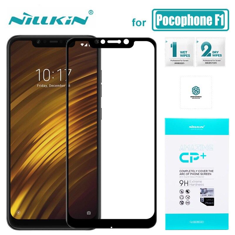 Para Xiaomi pocofone F1 cristal Nillkin CP + funda completa teléfono Poco F1 2.5D protector de pantalla de vidrio templado para pocofone F1 vidrio