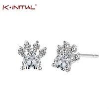 Charm Zircon Cuff Stud Earrings CZ Bear Dog Paw Print Heart Earring Female Girl Piercing Gold Silver Cute Small Animal Jewelry