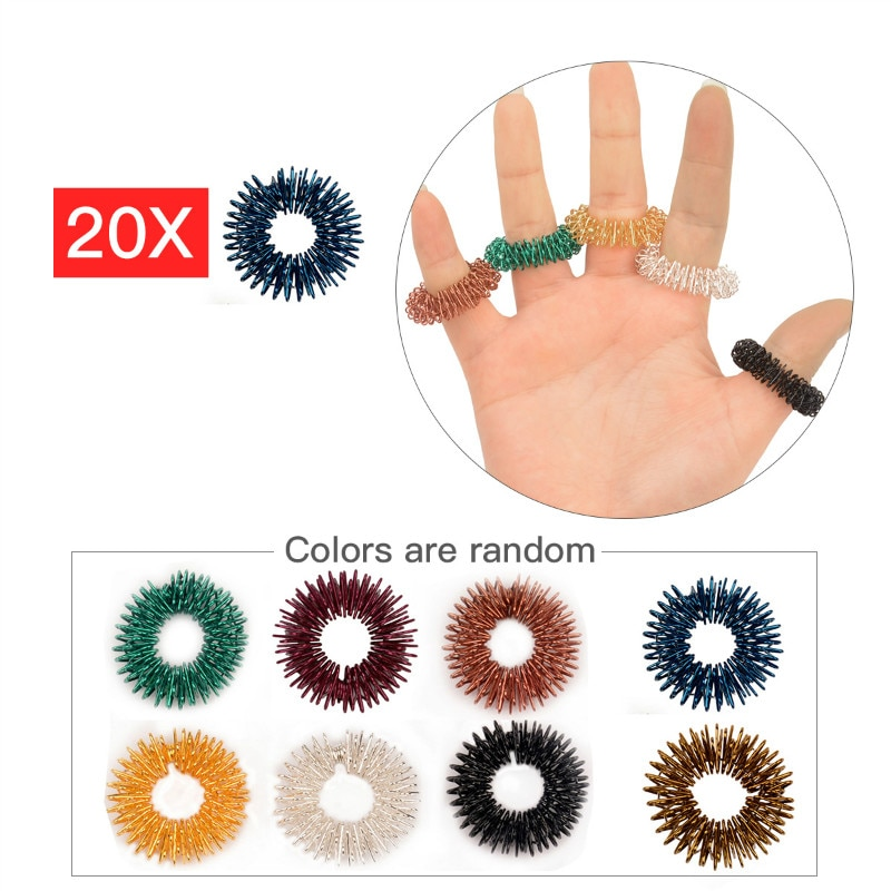 20 unidades anillo de acupresión de Medicina China anillo de acero inoxidable masaje a través de acupuntura anillo de masaje anillo de terapia de estimulación 0